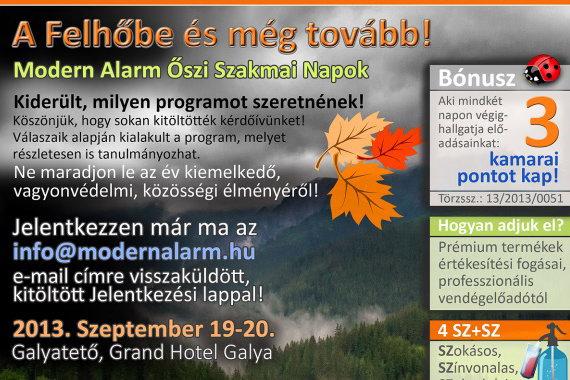 Modern Alarm: Őszi szakmai napok