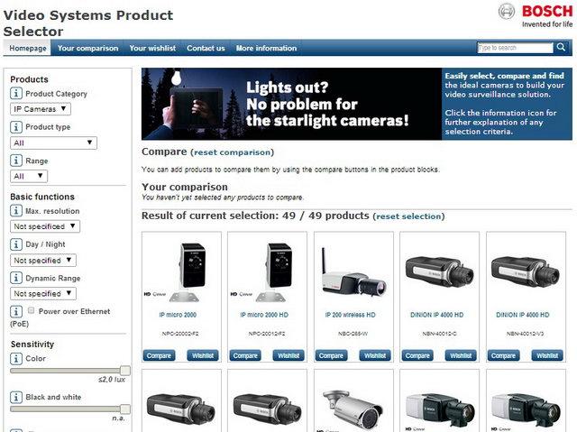 Bosch IP-kamera-választó program