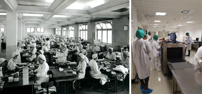 Röntgenes átvizsgálás és a kézi csomagolás szemléltetése egykor és most (fotó: Richter Archívum és Kálmán László)Forrás: ZandZ Kft