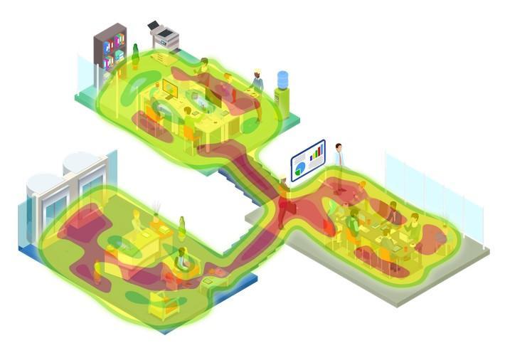 """Egy irodaépület kihasználtsági térképe – a hőtérképhez hasonlóan pirossal a gyakran használt (""""forróbb"""") területek Forrás: vedelem.hu"""